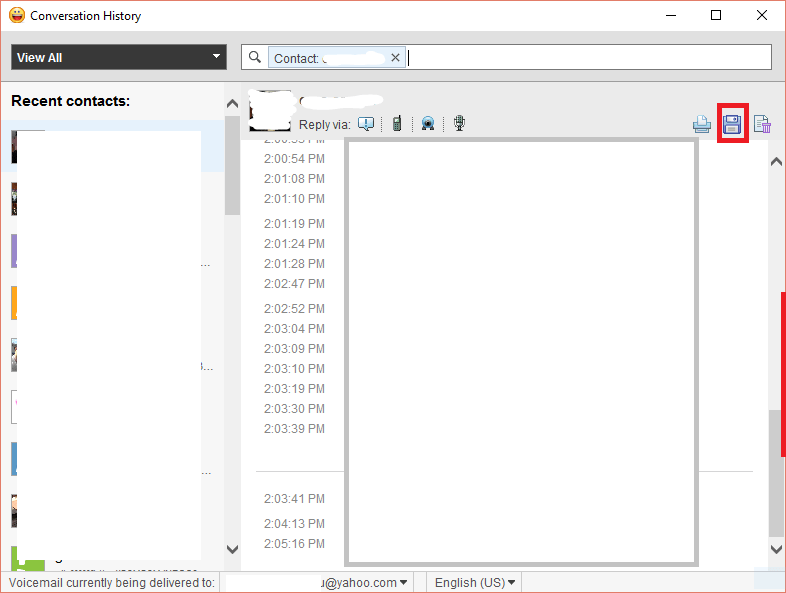 Cum salvez arhiva de conversații din Y! Messenger