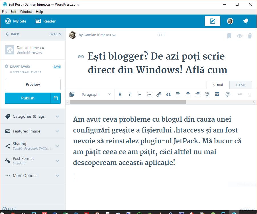 WordPress App - Adăugare articol