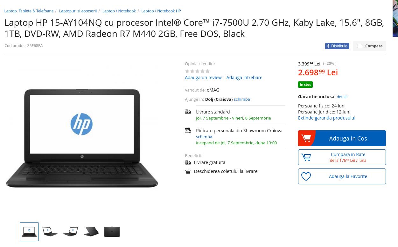 Preț Laptop Hp 15 AY104NQ eMAG
